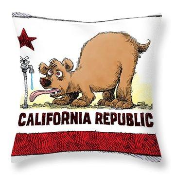 Thirsty California Flag Throw Pillow