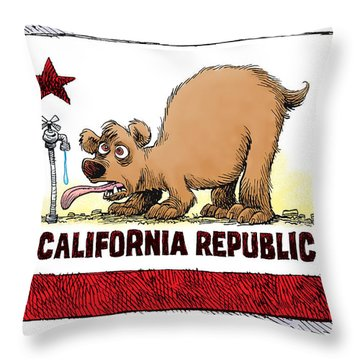 Thirsty California Flag Throw Pillow