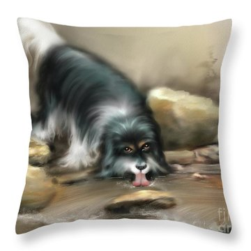 Throw Pillow featuring the painting Thirsty by S G