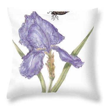 Throw Pillow featuring the painting This Great Purple Butterfly by Stanza Widen