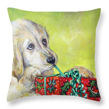 Throw Pillow featuring the painting This Is Mine? Right? by Donna Tucker