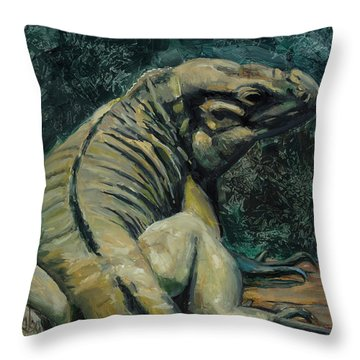 Throw Pillow featuring the painting This Is My Good Side by Billie Colson