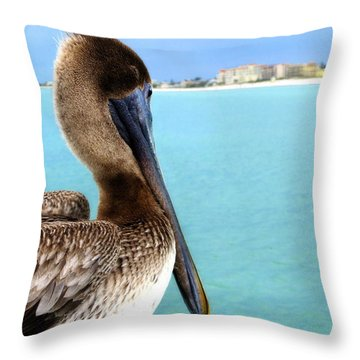 This Is My Town - Pelican At Clearwater Beach Florida  Throw Pillow by Angela Rath