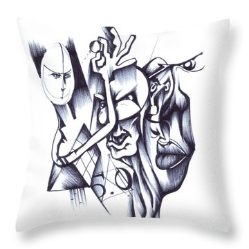 Throw Pillow featuring the drawing This by Keith A Link