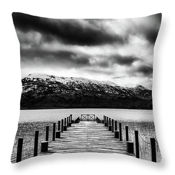 Landscape With Lake And Snowy Mountains In The Argentine Patagonia - Black And White Throw Pillow