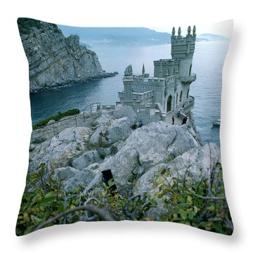 This Neo-gothic Castle Overlooks Throw Pillow by Steve Raymer