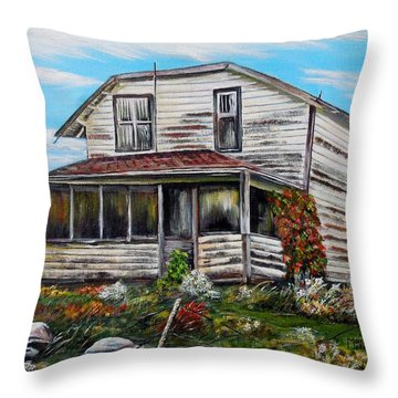 Throw Pillow featuring the painting This Old House 2 by Marilyn  McNish