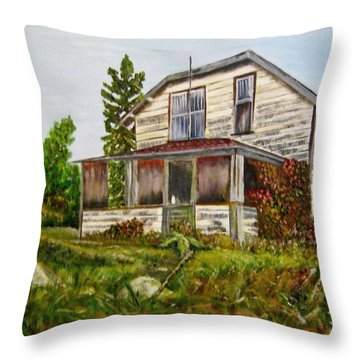 Throw Pillow featuring the painting This Old House by Marilyn  McNish