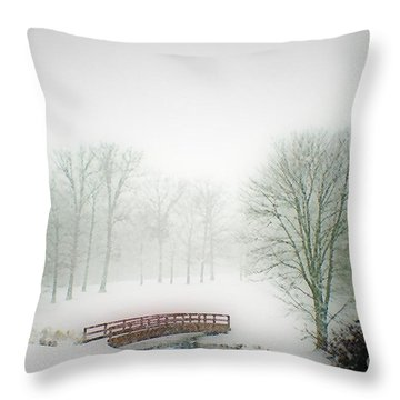 This Small Bridge, Located On A Golf Course, Always Provides A Scenic View. When A December Blizzard Throw Pillow