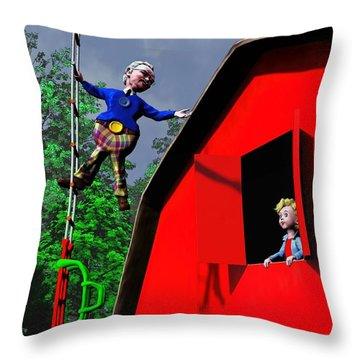 Throw Pillow featuring the painting This Way To The Sky by Dave Luebbert