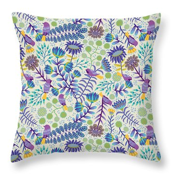 Thistle Garden - Light Throw Pillow by Darlene Seale