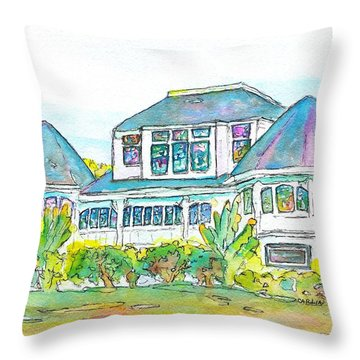 Thistle Lodge Pen Ink And Watercolor Throw Pillow