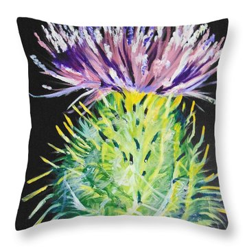 Throw Pillow featuring the painting Thistle by Saundra Johnson