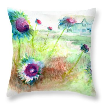 Throw Pillow featuring the painting Thistles #1 by Andrew Gillette