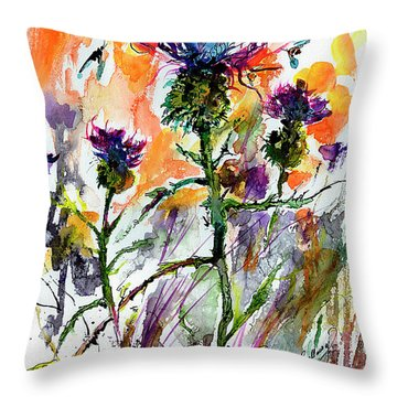 Thistles And Bees Watercolor And Ink Throw Pillow
