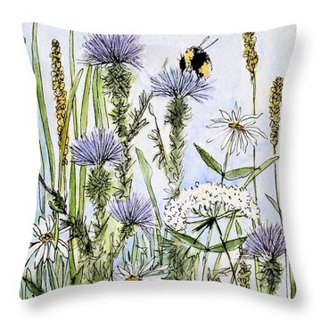 Throw Pillow featuring the painting  Thistles Daisies And Wildflowers by Laurie Rohner