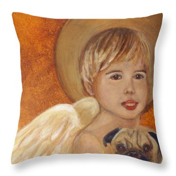 Thomas And Bentley Little Angel Of Friendship Throw Pillow by The Art With A Heart By Charlotte Phillips