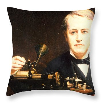 Thomas Edison, American Inventor Throw Pillow by Photo Researchers