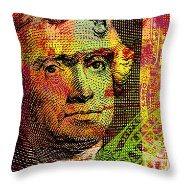 Throw Pillow featuring the digital art Thomas Jefferson - $2 Bill by Jean luc Comperat