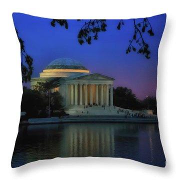Thomas Jefferson Memorial Sunset Throw Pillow by Elizabeth Dow