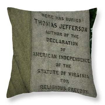Thomas Jefferson Tombstone Close Up Throw Pillow