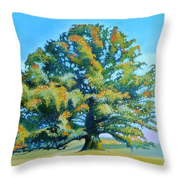 Thomas Jefferson's White Oak Tree On The Way To James Madison's For Afternoon Tea Throw Pillow by Catherine Twomey