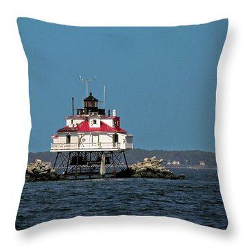 Thomas Point Shoal Light Throw Pillow by Sally Weigand