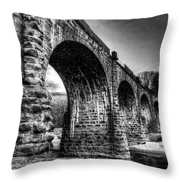 Throw Pillow featuring the photograph Thomas Viaduct In Black And White by Dennis Dame