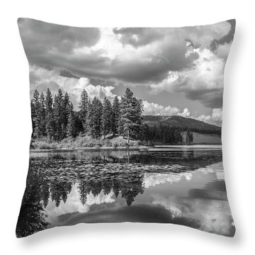 Thompson Lake In Black And White Throw Pillow