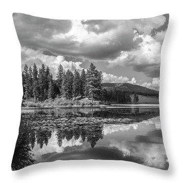 Thompson Lake In Black And White Throw Pillow