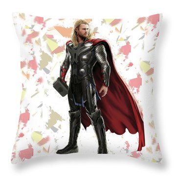 Throw Pillow featuring the mixed media Thor Splash Super Hero Series by Movie Poster Prints