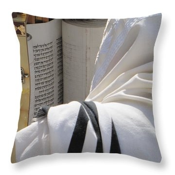 Thora Reading At The Western Wall Throw Pillow by Yoel Koskas