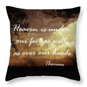 Thoreau Nature Quote Throw Pillow by Ann Powell