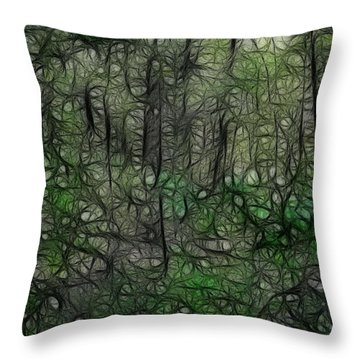 Thoreau Woods Fractal Throw Pillow by Lawrence Christopher