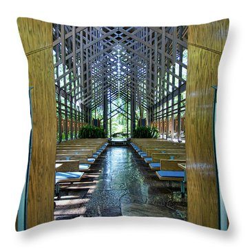Throw Pillow featuring the photograph Thorncrown Chapel Entrance by Cricket Hackmann