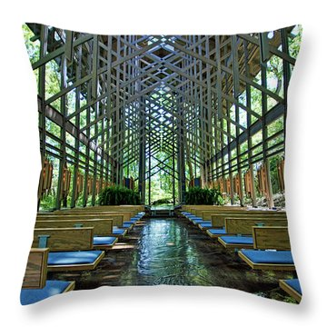 Throw Pillow featuring the photograph Thorncrown Chapel Interior by Cricket Hackmann