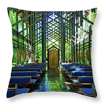 Throw Pillow featuring the photograph Thorncrown Chapel Serenity by Cricket Hackmann