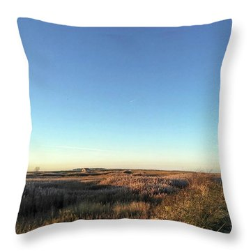 Thornham Marsh Lit By The Setting Sun Throw Pillow
