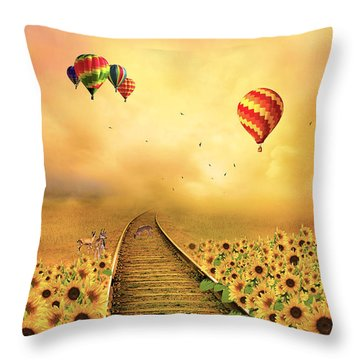 Those Infernal Flying Machines Throw Pillow by Diane Schuster
