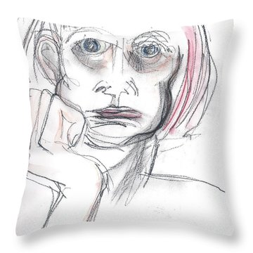Throw Pillow featuring the drawing Thoughtful - A Selfie by Carolyn Weltman