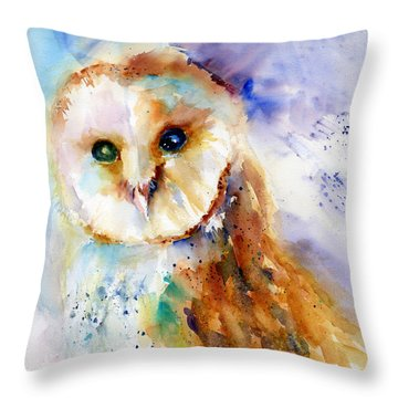 Thoughtful Barn Owl Throw Pillow by Christy Lemp