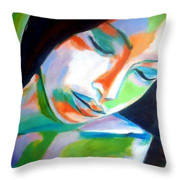 Thoughtful Throw Pillow by Helena Wierzbicki