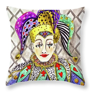 Thoughtful Jester Throw Pillow