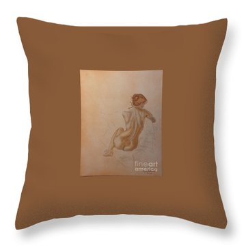 Thoughtful Nude Lady Throw Pillow