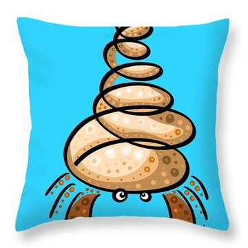Thoughts And Colors Series Hermit Crab Throw Pillow