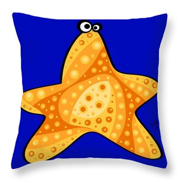 Throw Pillow featuring the painting Thoughts And Colors Series Starfish by Veronica Minozzi