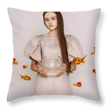 Thoughts Of Freedom. Series Escape Of Golden Fish  Throw Pillow