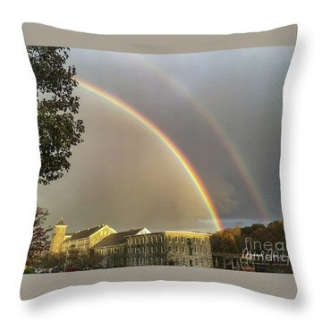 Throw Pillow featuring the photograph Thread City Double Rainbow  by Michael Hughes