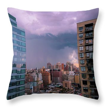 Throw Pillow featuring the photograph Threatening Storm - Manhattan - 2016 by Madeline Ellis