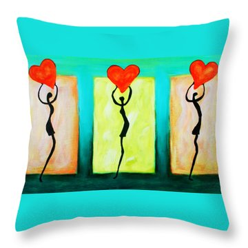 Three Abstract Figures With Hearts Throw Pillow